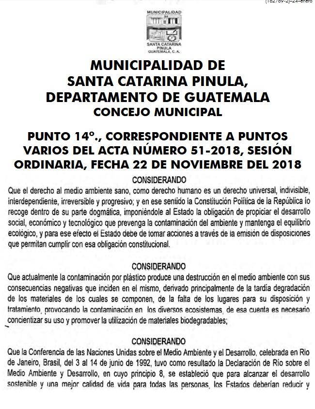 ACUERDO MUNICIPAL – PROHIBICIÓN, USO Y VENTA DE BOLSAS PLÁSTICAS, DUROPORT Y PAJILLAS